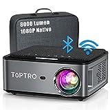 Beamer, 8000 Lumen Beamer Full HD, WiFi Bluetooth Beamer 4K Native 1080P LED Heimkino Video Projector kompatibel mit Fire TV Stick, iOS /Android Smartphone, MAC/PC/Laptop, PPT, PS5 (grau)