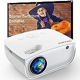 GROVIEW WiFi Beamer, 6500 Lumen Mini Video Beamer mit Bildschirm, 1080P Unterstützung, eingebaute HiFi Lautsprecher, mit ZOOM Funktion, 240' Display, kompatibel mit iPhone/Android/TV Stick/HDMI/USB